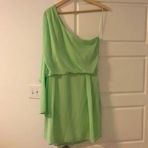 One sleeve green dress